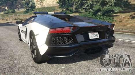 GTA 5 Lamborghini Aventador LP700-4 Police v5.5 vista lateral izquierda trasera