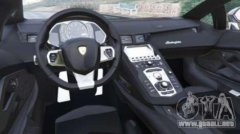 GTA 5 Lamborghini Aventador LP700-4 Police v5.5 vista lateral trasera derecha