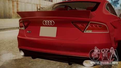 Audi RS7 X-UK L3D para GTA San Andreas vista hacia atrás