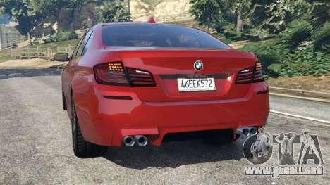GTA 5 BMW 535i 2012 vista lateral izquierda trasera