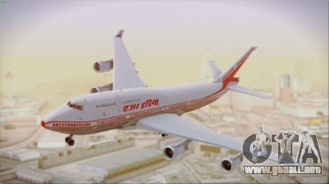 Boeing 747-437 Air India Tanjore New Skin para GTA San Andreas vista posterior izquierda
