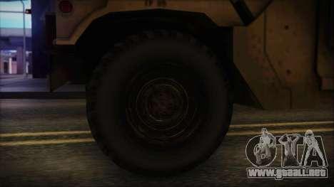 HMMWV Patriot para GTA San Andreas vista posterior izquierda