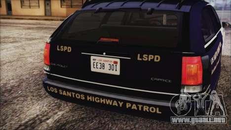 Chevrolet Caprice Station Wagon 1993-1996 LSPD para GTA San Andreas vista hacia atrás