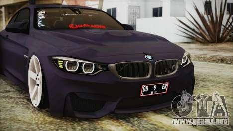 BMW M4 Stance 2014 para vista lateral GTA San Andreas