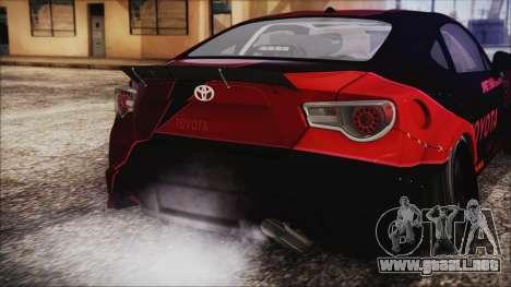 Toyota GT86 Speedhunters para GTA San Andreas vista hacia atrás