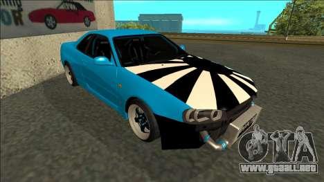 Nissan Skyline R34 Drift para GTA San Andreas left