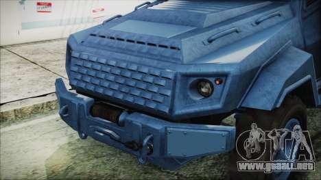 GTA 5 HVY Insurgent Van IVF para GTA San Andreas vista hacia atrás