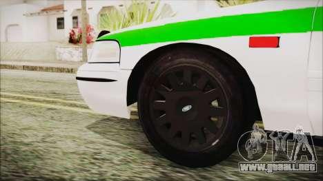 Ford Crown Victoria Miami Dade para GTA San Andreas vista posterior izquierda