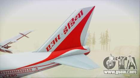 Boeing 747-237Bs Air India Vikramaditya para GTA San Andreas vista posterior izquierda