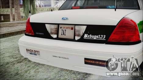 Ford Crown Victoria Miami Dade para GTA San Andreas vista hacia atrás