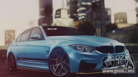 BMW M3 F30 IND EDITION para GTA San Andreas vista posterior izquierda