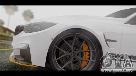 BMW M3 F30 IND EDITION para GTA San Andreas vista hacia atrás