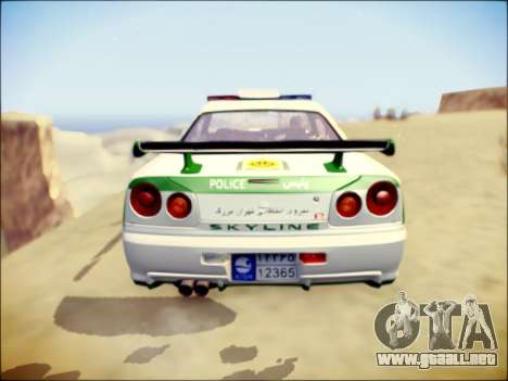 Nissan Skyline Iranian Police para GTA San Andreas vista hacia atrás