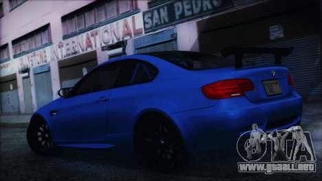 BMW M3 GTS 2011 HQLM para GTA San Andreas vista posterior izquierda