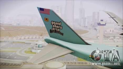 Boeing 747-100 Blue para GTA San Andreas vista posterior izquierda