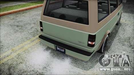 GTA 5 Declasse Moonbeam Custom IVF para GTA San Andreas vista hacia atrás
