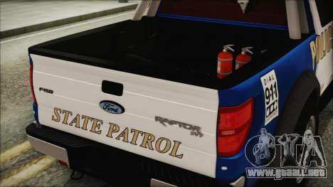 Ford F-150 SVT Raptor 2012 Police Version para GTA San Andreas vista hacia atrás