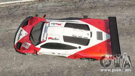 GTA 5 McLaren F1 GTR Longtail [Marlboro] vista trasera