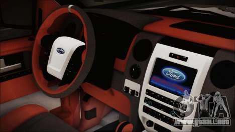 Ford F-150 SVT Raptor 2012 Police Version para la visión correcta GTA San Andreas