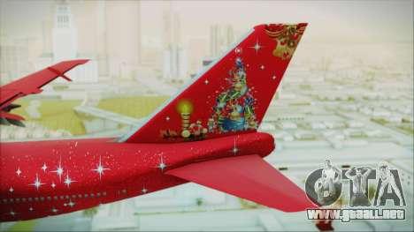Boeing 747-100 Merry Christmas para GTA San Andreas vista posterior izquierda