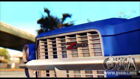 Chevrolet Camaro Z28 1970 Tunable para GTA San Andreas vista posterior izquierda