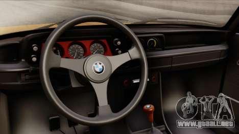 BMW 2002 Turbo 1973 Stock para la visión correcta GTA San Andreas