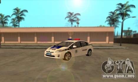 Toyota Prius De La Policía De Ucrania para GTA San Andreas left