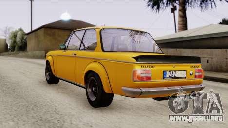 BMW 2002 Turbo 1973 Stock para GTA San Andreas vista posterior izquierda
