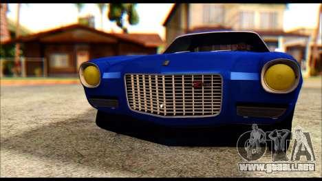 Chevrolet Camaro Z28 1970 Tunable para visión interna GTA San Andreas