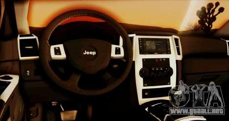 Jeep Grand Cherokee SRT8 Final version para GTA San Andreas vista hacia atrás