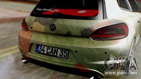Volkswagen Scirocco R Army Edition para GTA San Andreas vista hacia atrás
