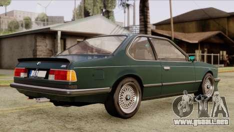 BMW M635 E24 CSi 1984 Stock para GTA San Andreas vista posterior izquierda