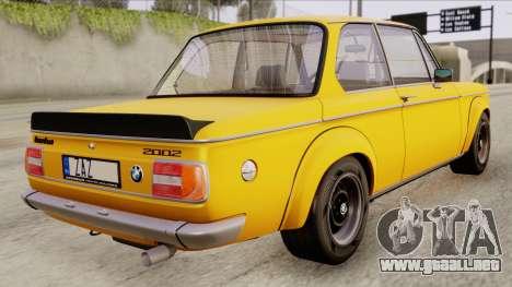 BMW 2002 Turbo 1973 Stock para GTA San Andreas left