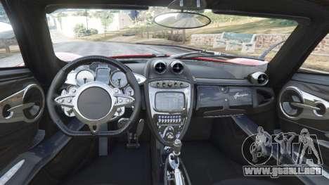 GTA 5 Pagani Huayra 2013 v1.1 [black and red rims] vista lateral trasera derecha