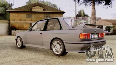 BMW M3 E30 1991 Stock para GTA San Andreas vista posterior izquierda