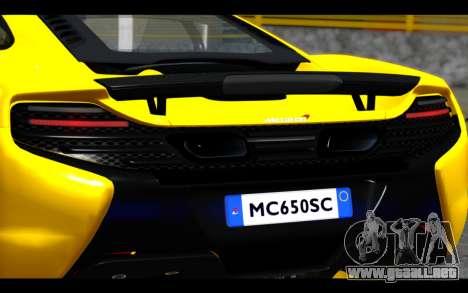 McLaren 650S Coupe para vista lateral GTA San Andreas