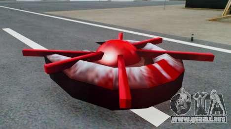 Alien Ship Red-Gray para GTA San Andreas vista posterior izquierda