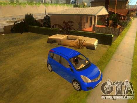 Nissan Note v0.5 Beta para GTA San Andreas vista hacia atrás