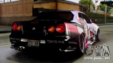 Nissan Skyline R34 Stance Nico Yazawa Itasha para GTA San Andreas left