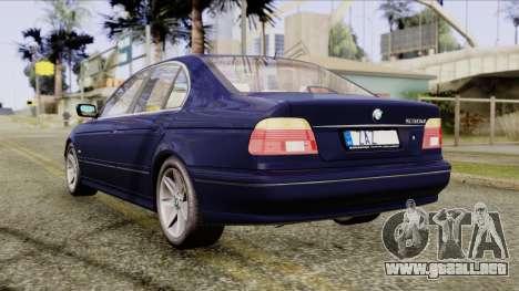 BMW 530D E39 2001 Stock para GTA San Andreas vista posterior izquierda