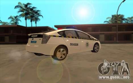 Toyota Prius De La Policía De Ucrania para GTA San Andreas vista hacia atrás