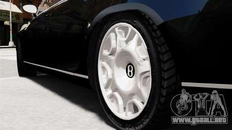 Bentley Continental 2010 Flying Spur Beta para GTA 4 Vista posterior izquierda