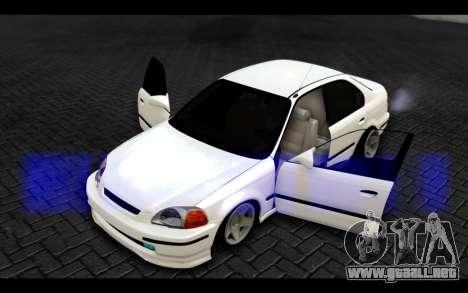 Honda Civic 1.6 para vista lateral GTA San Andreas