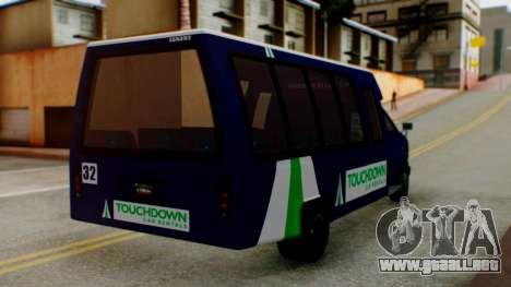 GTA 5 Rental Shuttle Bus Touchdown Livery para GTA San Andreas left