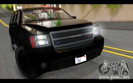 GTA 5 Declasse Granger FIB IVF para GTA San Andreas vista hacia atrás
