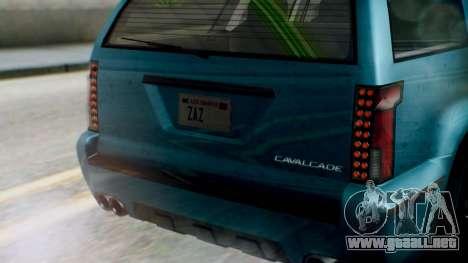 GTA 5 Albany Cavalcade II IVF para GTA San Andreas vista hacia atrás