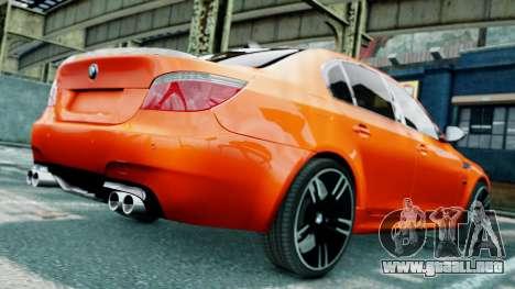 BMW M5 E60 para GTA 4 vista desde abajo