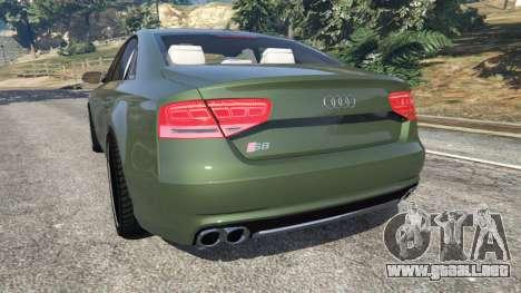 GTA 5 Audi S8 Quattro 2013 v1.2 vista lateral izquierda trasera
