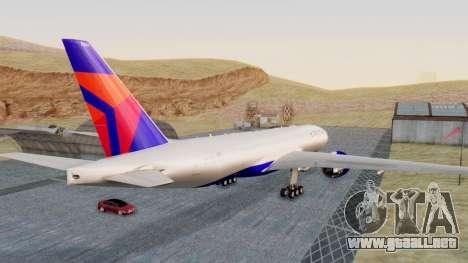 Boeing 777-200LR Delta Air Lines para GTA San Andreas vista posterior izquierda