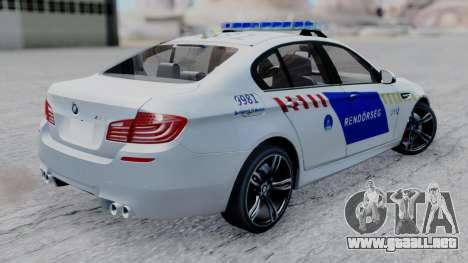 BMW M5 F10 Hungarian Police Car para GTA San Andreas left